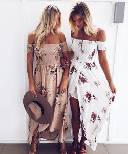 Women Boho Long Dress Summer Off Shoulder Beach Dresses Floral Print Vintage Asymmetrical Maxi Dress Vestidos De Festa SEDS103