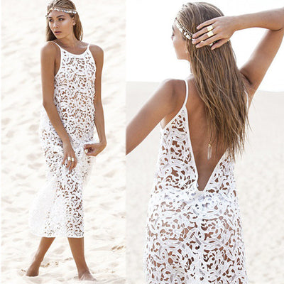 8c322e03676af Women Summer Maxi Dress 2017 Female Backless Bohemian Hippie Long White  Beach Dress hollow out Lace