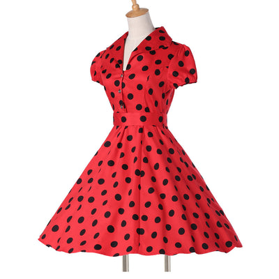 Women Summer Pinup Swing Dresses Plus Size Polka Dot maggie tang Casual  Party Retro robe Rockabilly 50s Vintage Dress vestidos