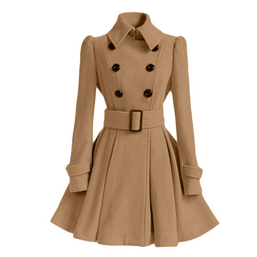 Women Trench Coat Winter Belt Buckle TrenchCoat Double-Breasted Vintage Coat Casual Windbreaker Woolen Blend Outwear Cloak YL376