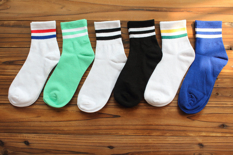 Women mens unisex Two Stripes three stripe Cotton Socks Retro Old School Hiphop Skate Sox white harajuku socks boy girl