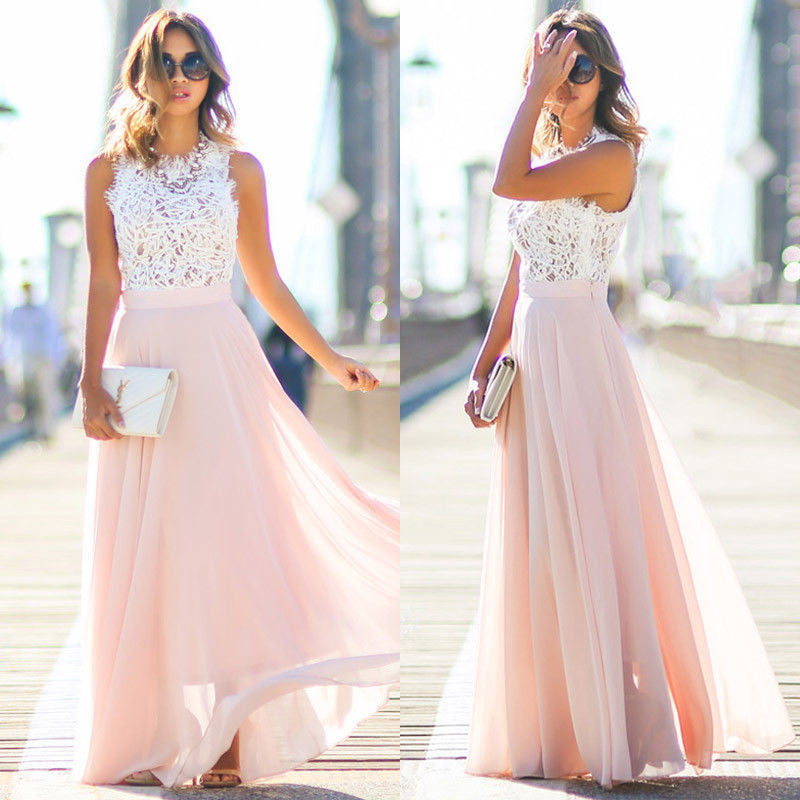 b6e05a022bce Womens Summer Boho Long Maxi Dress Sleeveless Lace Top Party Beach Dress  Sundress
