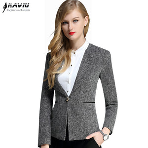 Work wear Business OL long-sleeve women blazers spring 2016 new fashion formal office plus size jacket gray black drek green