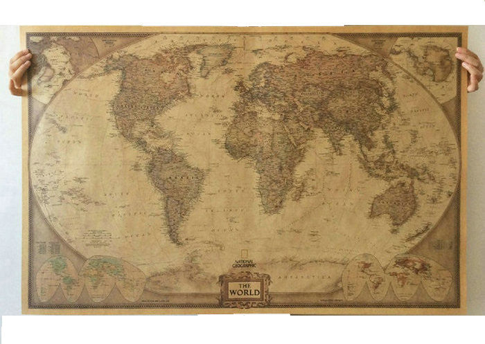 Tie ler vintage retro matte kraft paper world map antique poster world map paper posters retro vintage style retro in wall stickers home decoraction art word map gumiabroncs Gallery
