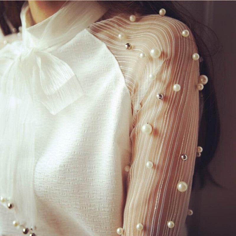 87431d7e0d98a YAYEYOU Spring Elegant Organza Bow of Pearl White Blouse Casual Chiffon  Shirt Women Vintage Sleeve Blouses