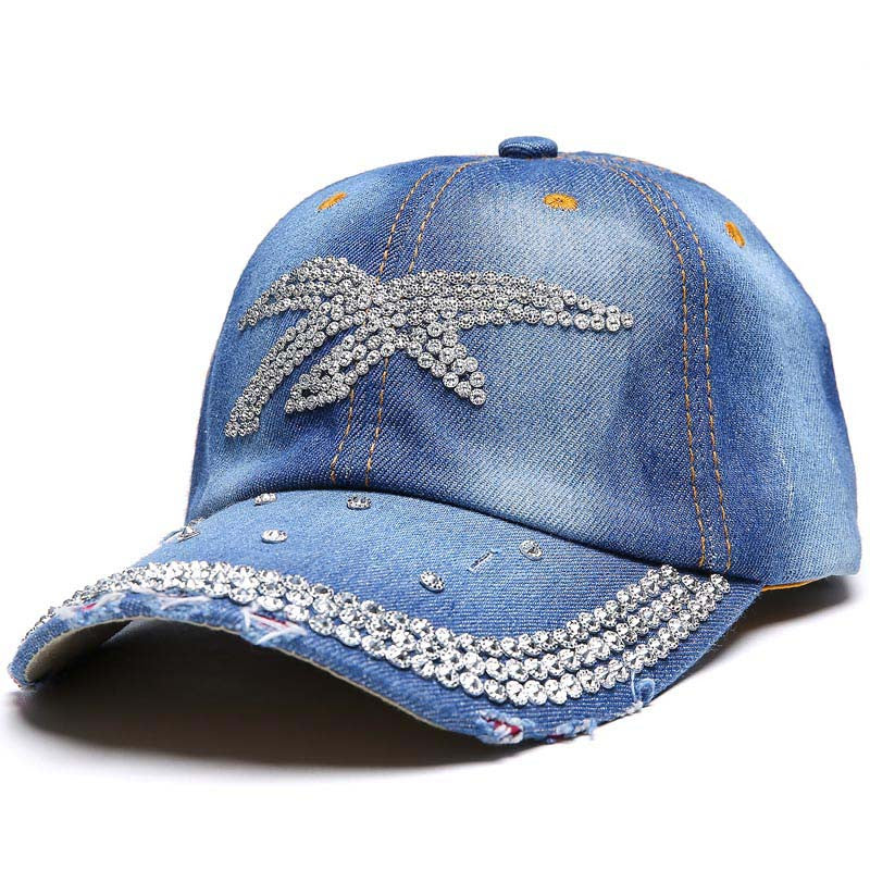 YanMan 2017 Women Denim Baseball Cap Fashion Animal Pattern Artificial  Jewel Girl Women Snapback Caps Casquette 50352647fb16