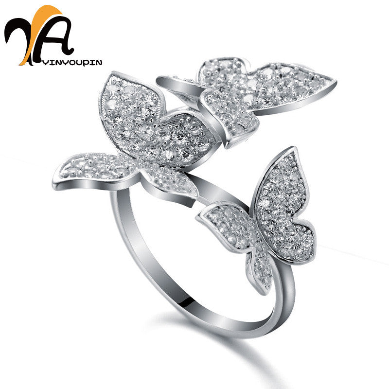 YayinYoupin Sterling Silver Ring Fashion Luxury 925 Butterfly Rings ...