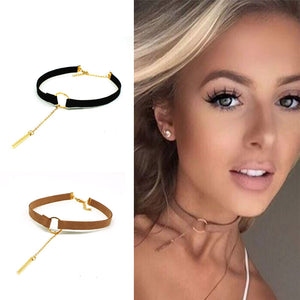 ZOEBER Anime round Circular black brown leather geometry neckalce short torques bowknot geometric femme Choker Necklaces
