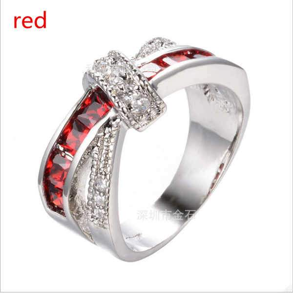 Women New Fashion Luxury 3D Cross Gemstone Ring 925 Sterling Silver Rings Wedding Rings Jewelry