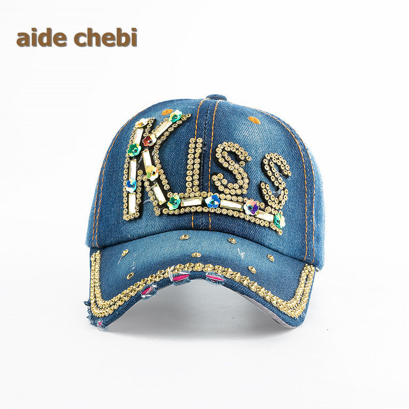 aide chebi  Baseball Cap Women Full Crystal Colorful Big Butterfly Hat  Denim Bling Rhinestone 0e9898986abb