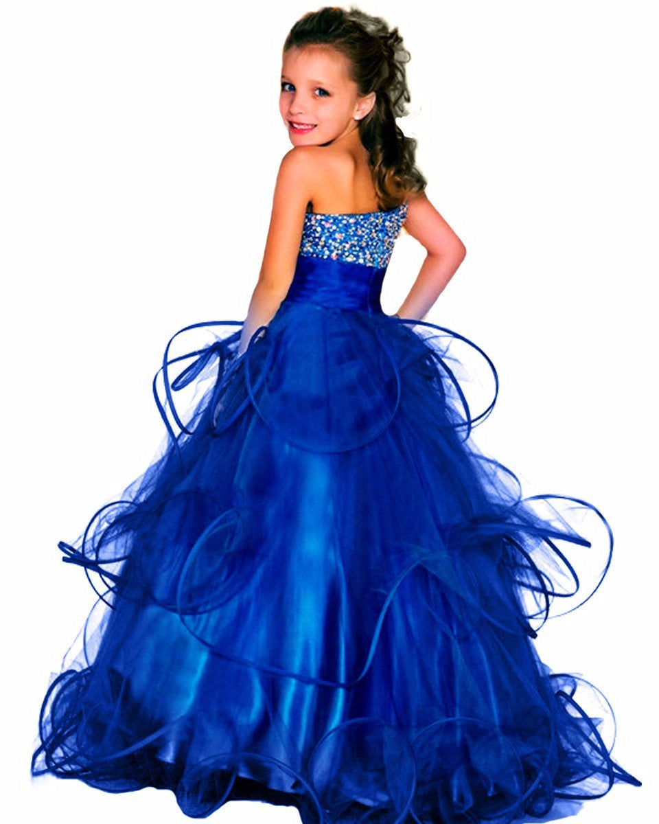 beaded elegant curvy pageant dresses for girls fluffy long kids prom d