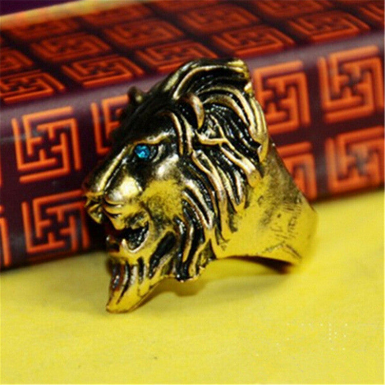 brand design High Quality Stainless Steel Lion Head Finger Ring For Men Red Crystal Eyes Punk Style Fashion Male Jewelry 2016 Lion splendid jewelry Store- upcube