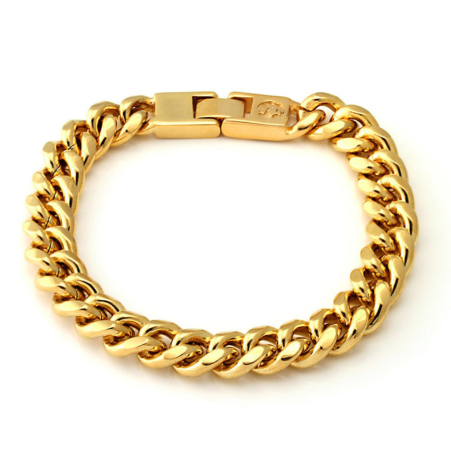 10mm King Ice 14K Gold Miami Cuban Chain Bracelet - upcube