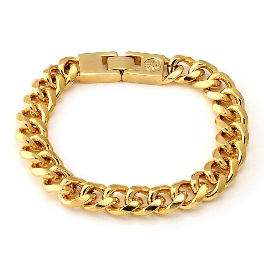12mm King Ice 14K Gold Miami Cuban Chain Bracelet - upcube