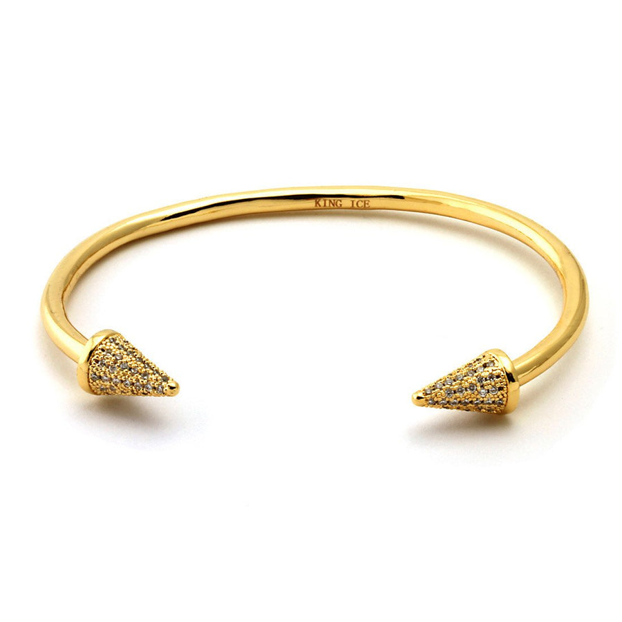 14K Gold Spiked Tip Bangle - upcube