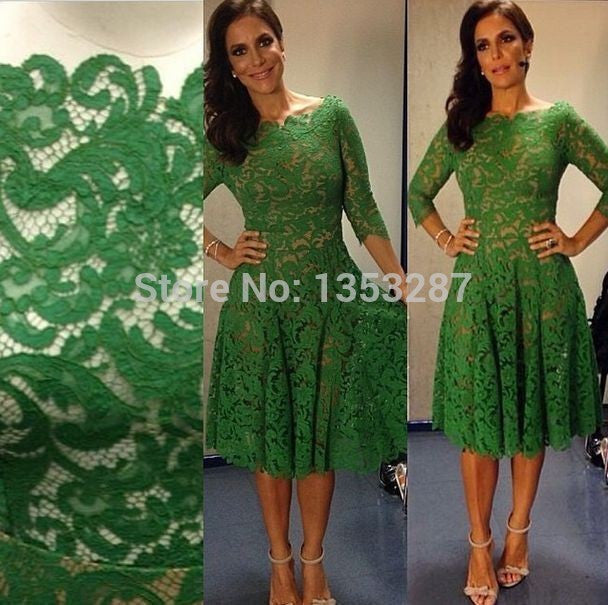 emerald green prom dresses knee length elegant long sleeve lace evening  dresses made in china vestidos d92acb9a45d8