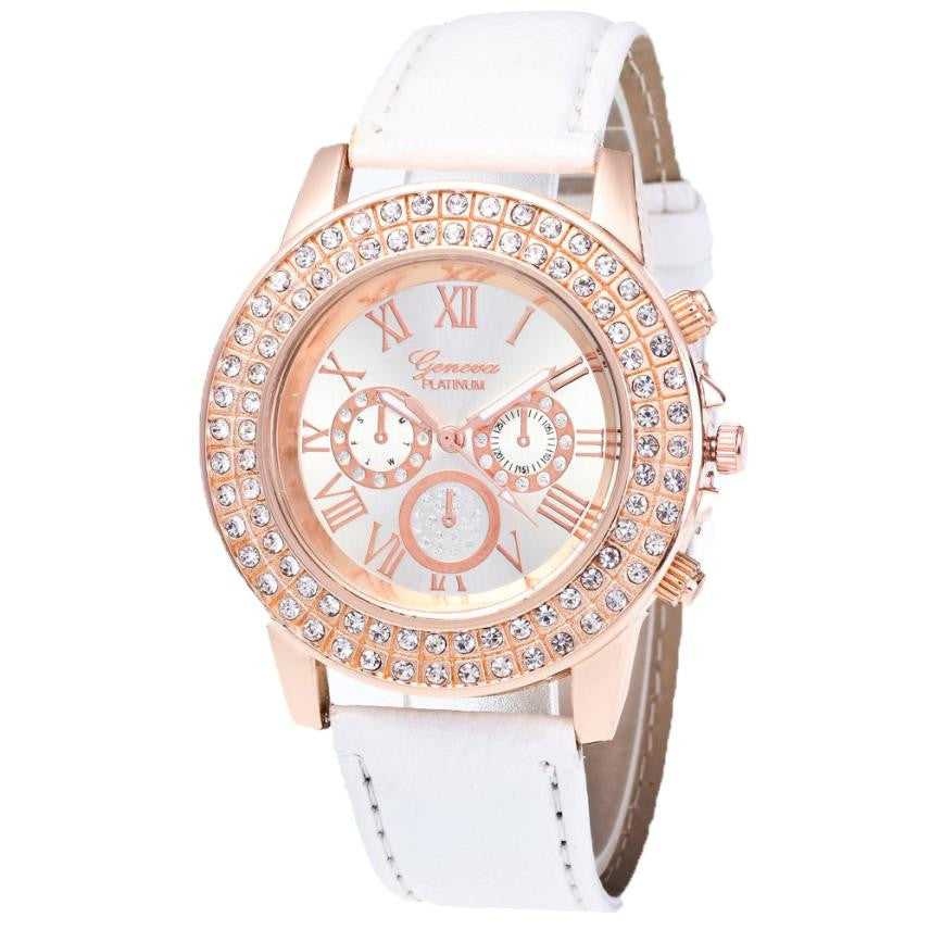 fashion women bracelet Watch Candy Color ladies watches with rhinestones leather Strap Wrist Watch women dress relojes mujer