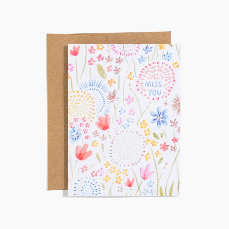 #10170 Floral Miss You Card - upcube