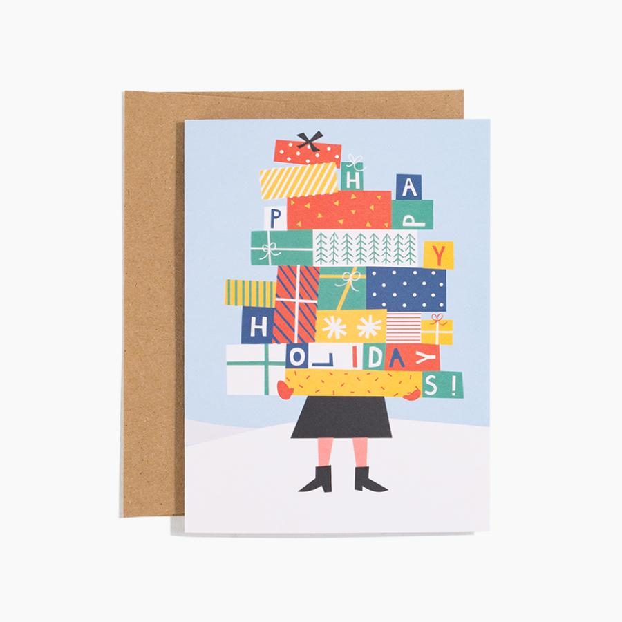 #10140 Stacked Presents Holiday Card - upcube