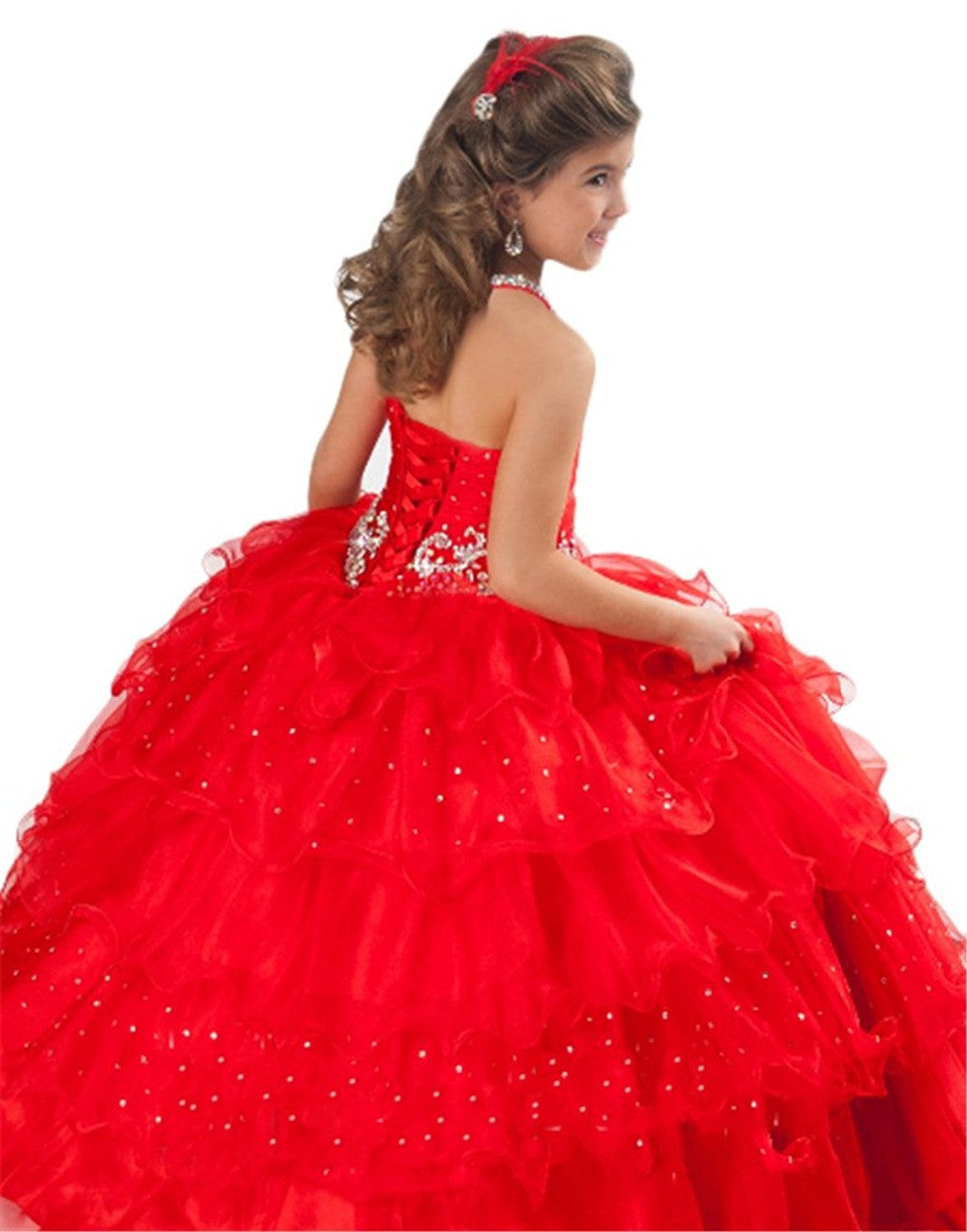 halter red pageant dresses for girls glitz kids prom dresses girls ...