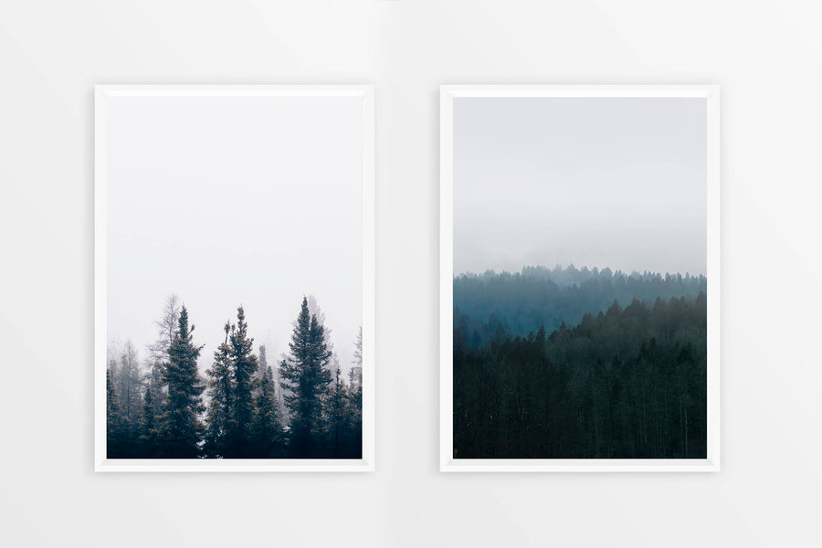 SALE! 2 in 1, Scandinavian Print, Nordic Poster, Forest Print, Tree Wall Art, Black White, Foggy Art Print, Best Selling Items, Hygge