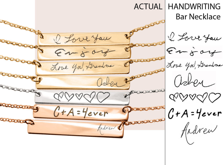 Personalized Handwriting Necklace Handwriting jewelry necklaces for women Personalized Necklace Engraved gold bar necklace Handwriting gift