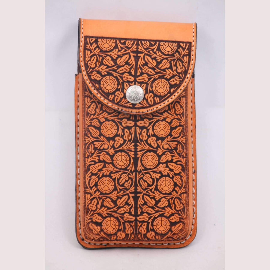 New Leather Belt Loop Cell Phone Holder/Pouch/Case Hand Made Embossed Mexico #2