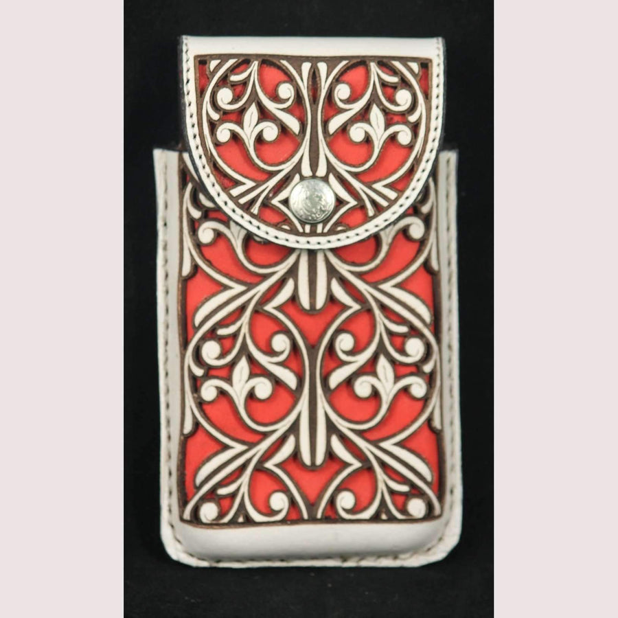 New Leather Belt Loop Cell Phone Holder/Pouch/Case Hand Made Embossed Mexico #5