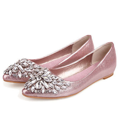 724d09586 new women Ballet leisure autumn Moccasins pointy fashion ballerina  Rhinestone drill shiny flats loafers shoes princess