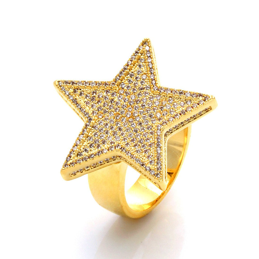 14K Gold 5-Pointed CZ Star Ring - upcube
