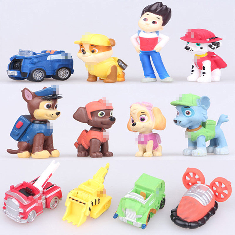 12pcs/set Canine Patrol Dog Toys Russian Anime Doll Action Figures Car Patrol Puppy Toy Patrulla Canina Juguetes Gift for Child