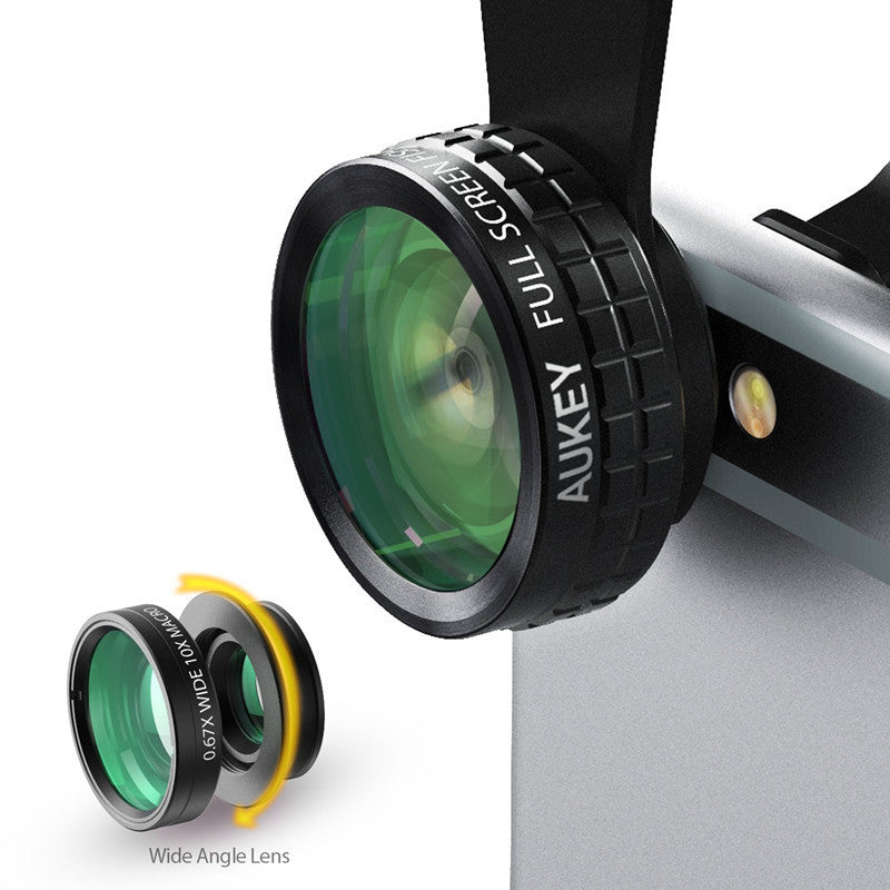 AUKEY 180 Degree Fisheye Lens + Wide Angle + Macro Lens 3in 1 Clip-on Cell Phone Camera Fish eye Lens  for Xiaomi & other Device  dailytechstudios- upcube