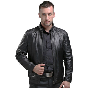 Argy Spring Men's Genuine Leather Jackets Brand Real Sheepskin Jaqueta De Couro Black Male Genuine Leather Jacket For Men 1606