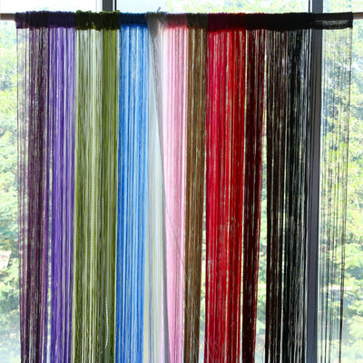 2m*1m 12 Colors String Curtains Door Window Panel Curtain Divider Yarn String Curtain Strip Tassel Drape Decor for Living Room  dailytechstudios- upcube
