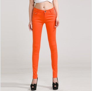 HEE GRAND New Autumn Fashion Pencil Jeans Woman Candy Colored Mid Waist Full Length Zipper Slim Fit Skinny Women Pants WKP004