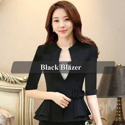 Fashion Work Wear Jacket Half Sleeve V-neck Coat Blazer Feminino Girl plus size women clothing ladies Vogue casual office top
