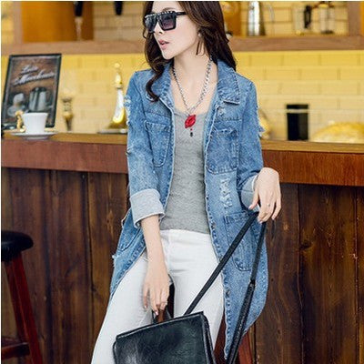 2015 New fashion autumn hot women Cowboy coats Clothing half sleeve A-line long leisure female brand jaqueta women coat trench  dailytechstudios- upcube