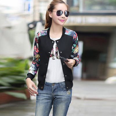 Brand Tops 2016 Flower Print Girl Plus Size Casual baseball Jacket Women Sweatshirts Button Thin Bomber Jacket Long Sleeves Coat  dailytechstudios- upcube