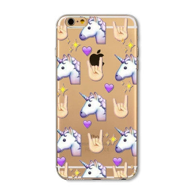 For Apple iPhone  6 6S  5 5S SE 6Plus 6sPlus 5C 4 4S Soft Silicon Transparent Phone Case Cover Cute Cat Rabbit Emojio Phone Capa