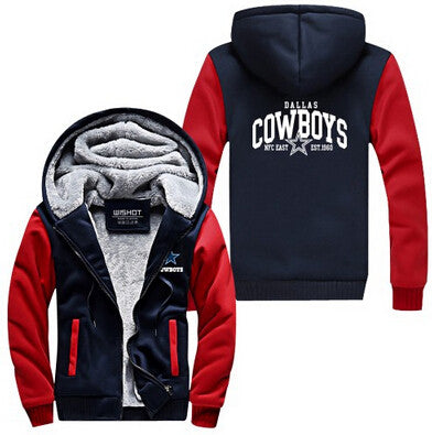 Hot New Dallas Zipper Jacket Fleeces Hoodie Logo Winter JiaRong Fleece Mens Sweatshirts Free Shipping