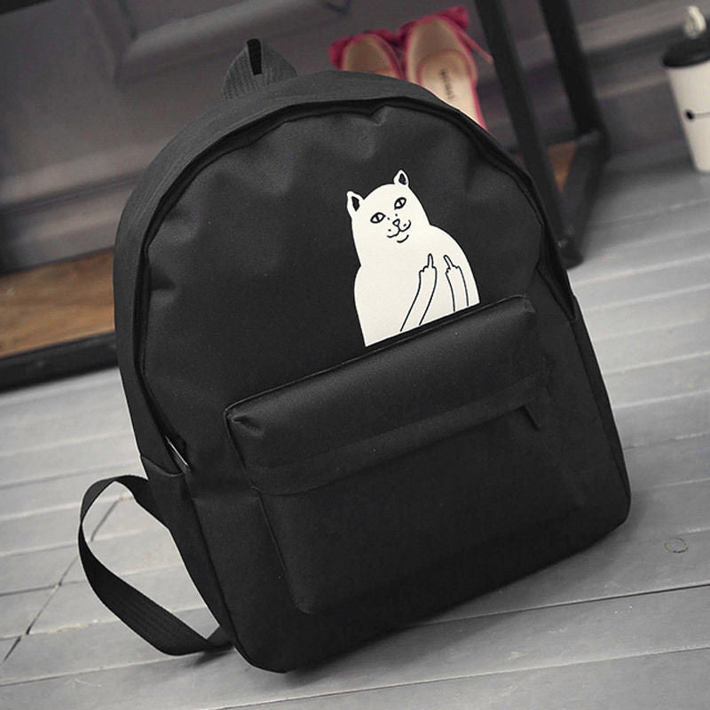 Cute Fashion Girl Womes Canvas Lovely Cat  Backpack Travel Satchel Rucksack School Book Bag  dailytechstudios- upcube