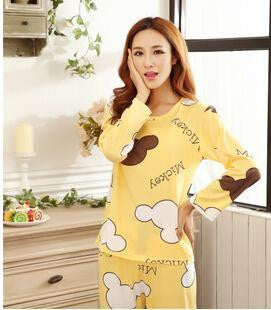 19 Colors Women Pajamas Suits Spring Autumn Cartoon Female Long-sleeve Pajama Pants Milk Silk Pajamas Suits tracksuit  dailytechstudios- upcube
