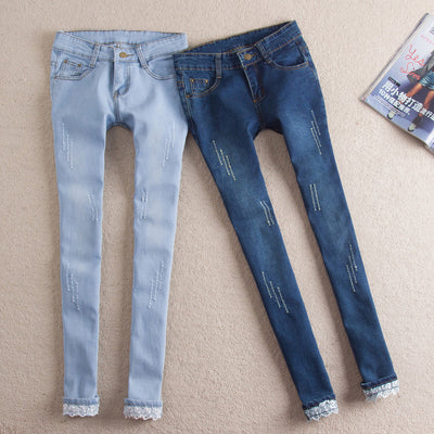 Fashion Women slim Pants skinny distrressed jeans female Casual Pencil Pants bleached washed Jeans plus size Trousers   HS1194