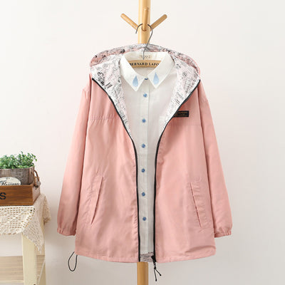 NEW 2016 Spring Fashion women Bomber women Jacket Pocket Zipper hooded two side wear Cartoon print outwear loose plus size