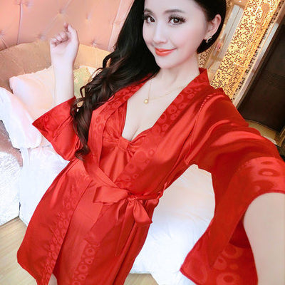 2016 Spring Summer Autumn Women Silk Nightdress  Set of Robe & Nightgown Lady Sexy  Dress Female Twinset of Sleepwear  dailytechstudios- upcube