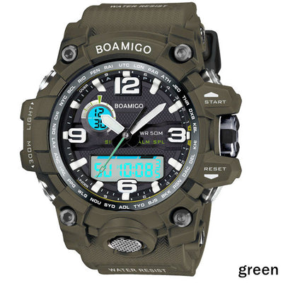 BOAMIGO brand men sports watches dual display analog digital LED Electronic quartz watches 50M waterproof swimming watch F5100  dailytechstudios- upcube