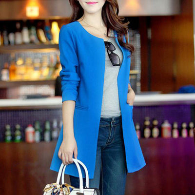 2016 Women Long Blazer Jackets 4 Colors New Fashion Solid Casual Plus Size Coat  Blazer Feminino  dailytechstudios- upcube
