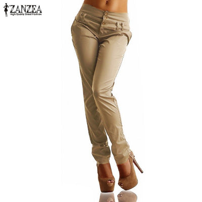 2016 Autumn ZANZEA Womens Long Pants High Waist Buttons Zipper Solid Trousers Casual Pockets Slim Pencil Pants Plus Size Capris