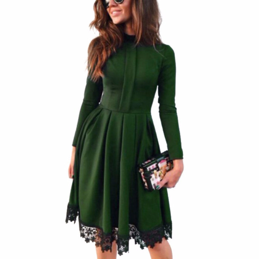 Promotion Fashion Women Sexy Long Sleeve Slim Maxi Dresses Green Party Dresses Hot