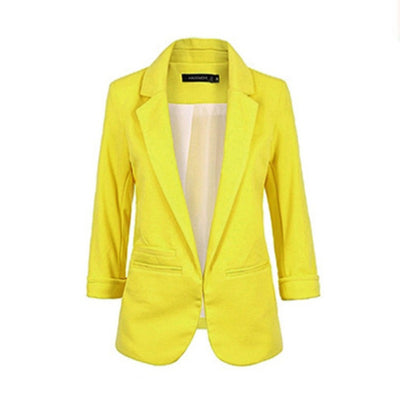 Women Fomal Slim Suit Coat 3/4 Sleeve Outwear Office Lady Business Blazer